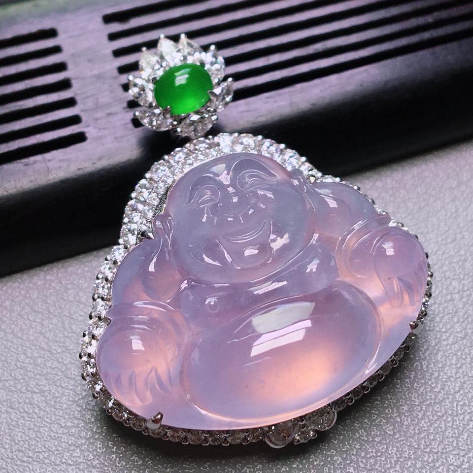 冰玻种紫罗兰镶白金钻石玉佛胸坠翡翠