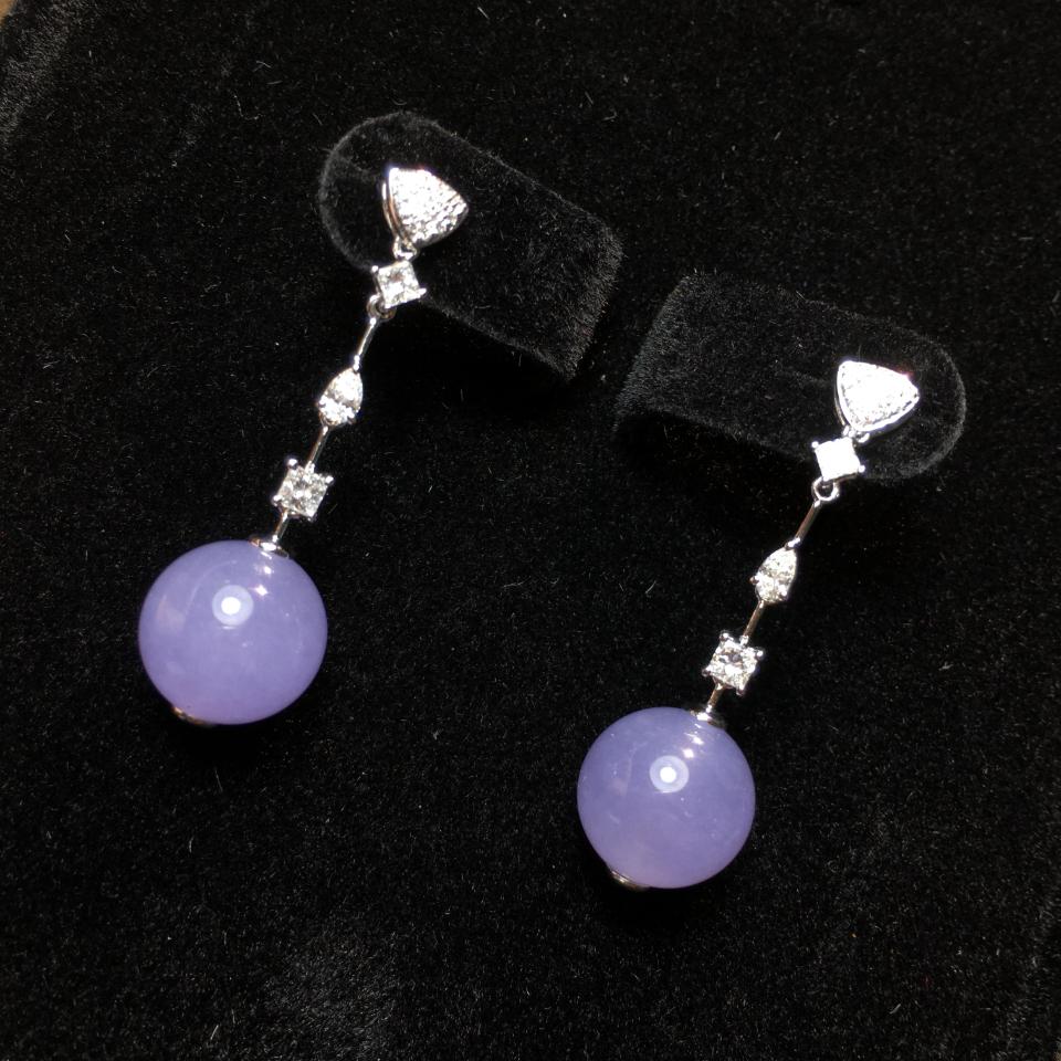 18K金钻镶冰种紫罗兰珠子耳坠