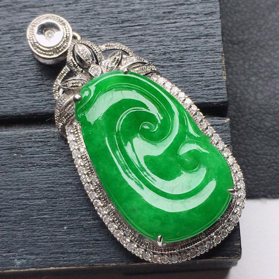 (超值推荐)缅甸翡翠18K金伴钻镶嵌细糯种满绿如意吊坠