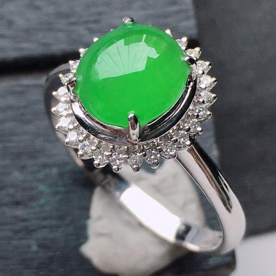 (超值推荐)缅甸翡翠17圈口18k金伴钻镶嵌糯冰种满绿蛋面戒指