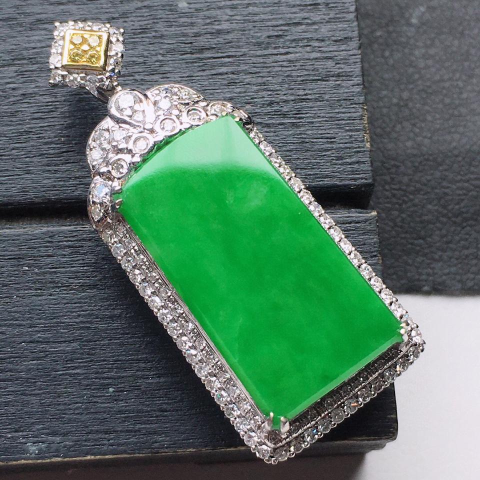 (超值推荐)缅甸翡翠18K金伴钻镶嵌细糯种满绿素面牌吊坠