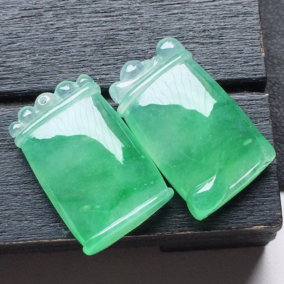 缅甸翡翠糯冰种带绿节节高升吊坠一对