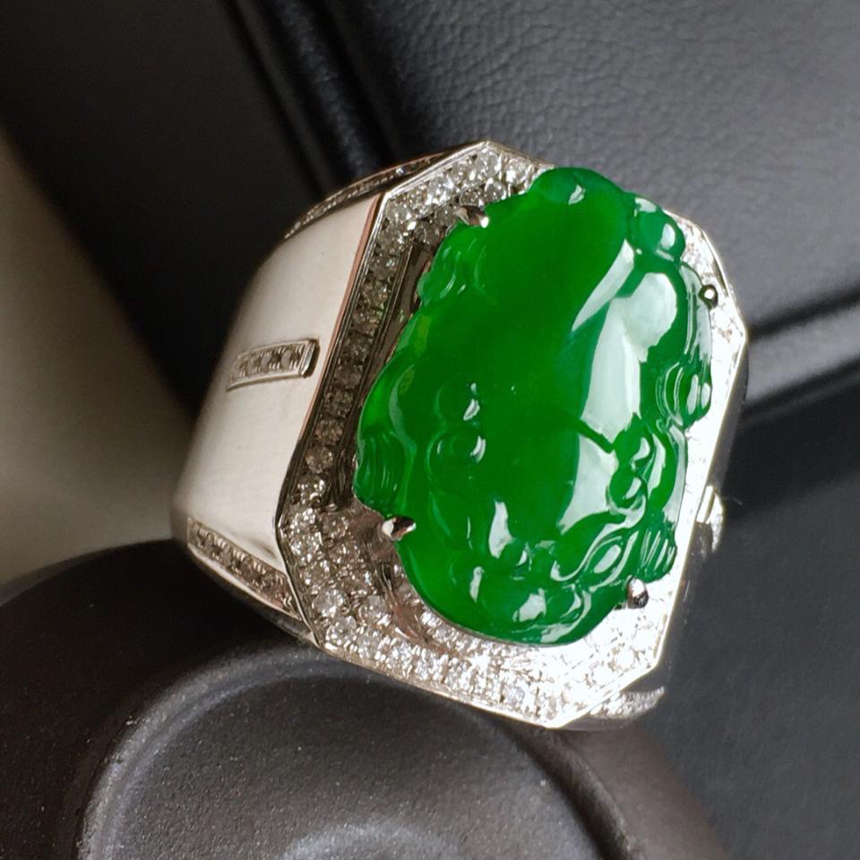 (超值推荐)18k金镶钻满绿貔貅戒指