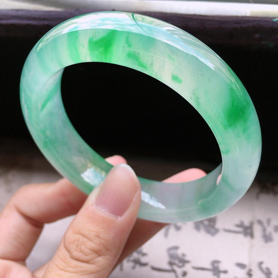 收藏級翡翠冰玻種翠綠正圈手鐲51mm