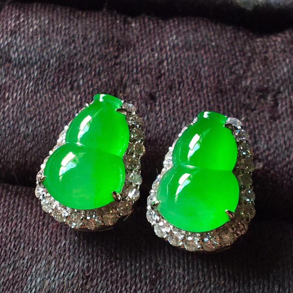冰种阳绿葫芦耳钉
