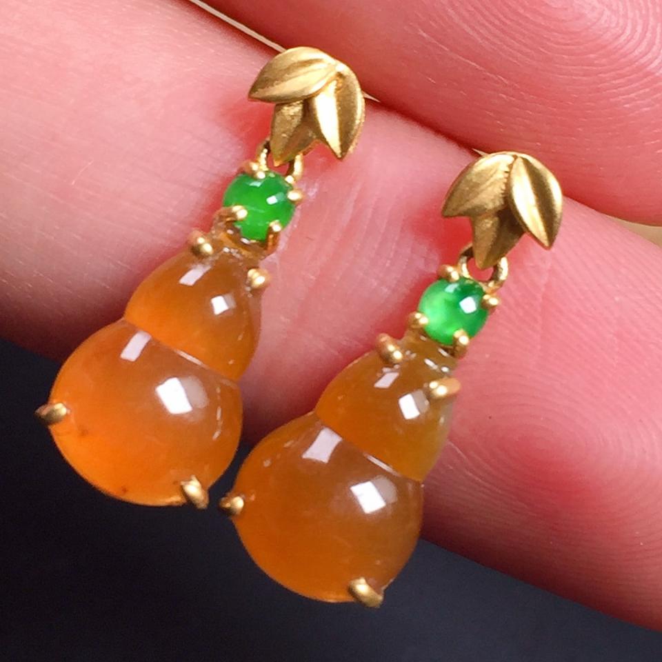 细润红翡葫芦造型翡翠耳坠