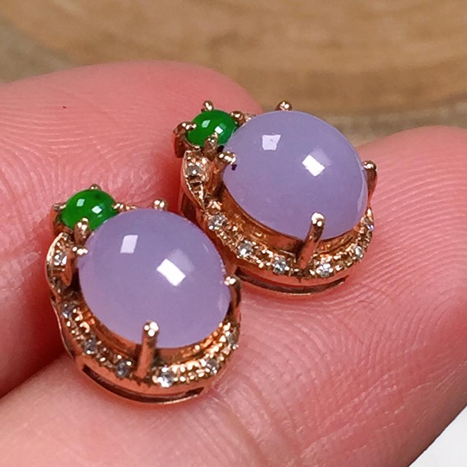 细润紫罗兰蛋面翡翠耳钉