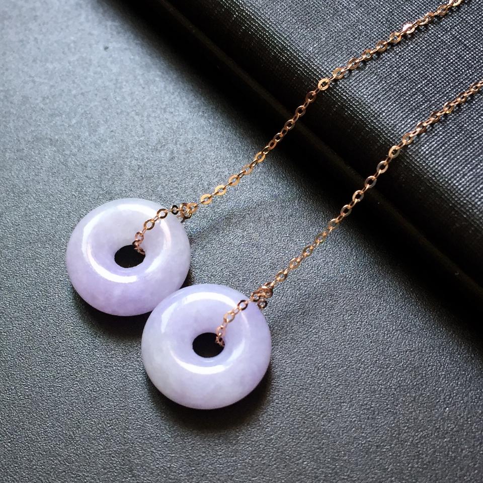 (超值推薦)18k金糯冰種紫羅蘭翡翠平安環耳線