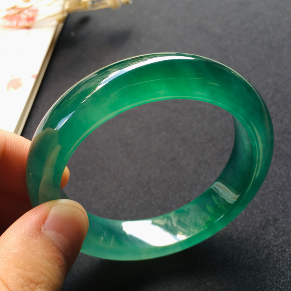 高冰種綠晴水正圈翡翠手鐲(54mm)