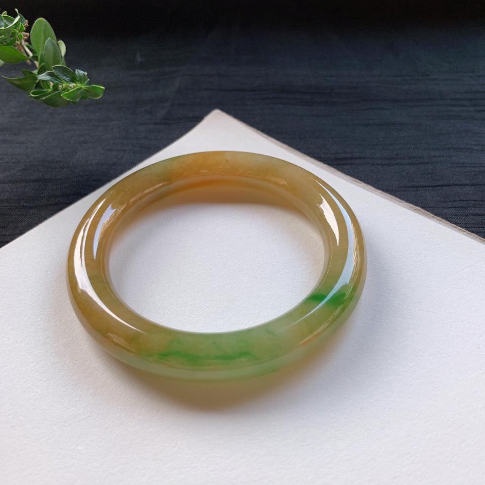 糯冰种黄加绿圆条手镯57mm