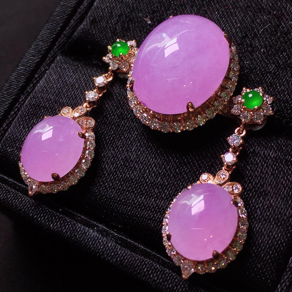 冰玻种紫罗兰镶玫瑰金钻石套装翡翠一套