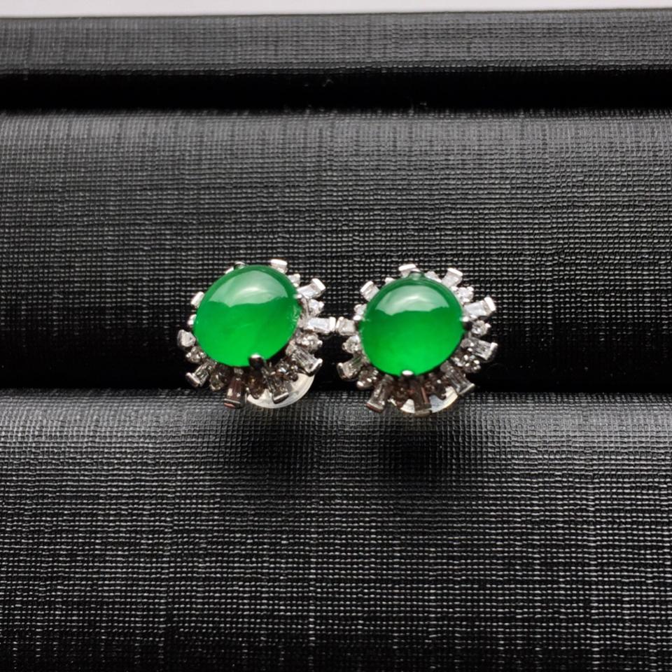 (超值推荐)镶白金钻石冰种阳绿翡翠耳钉