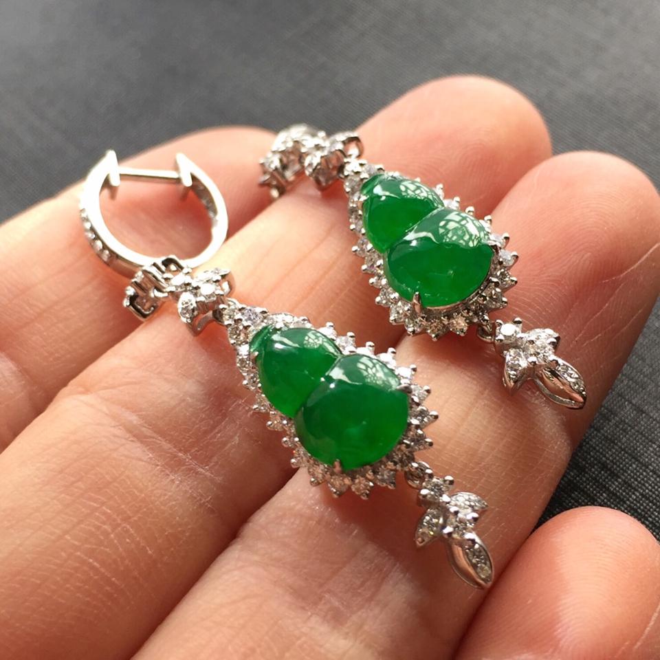 (超值推荐)糯冰种阳绿镶白金钻石葫芦耳坠