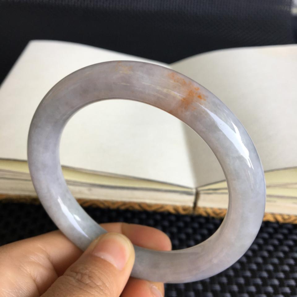 糯冰种晴水带黄翡手镯(55mm)翡翠