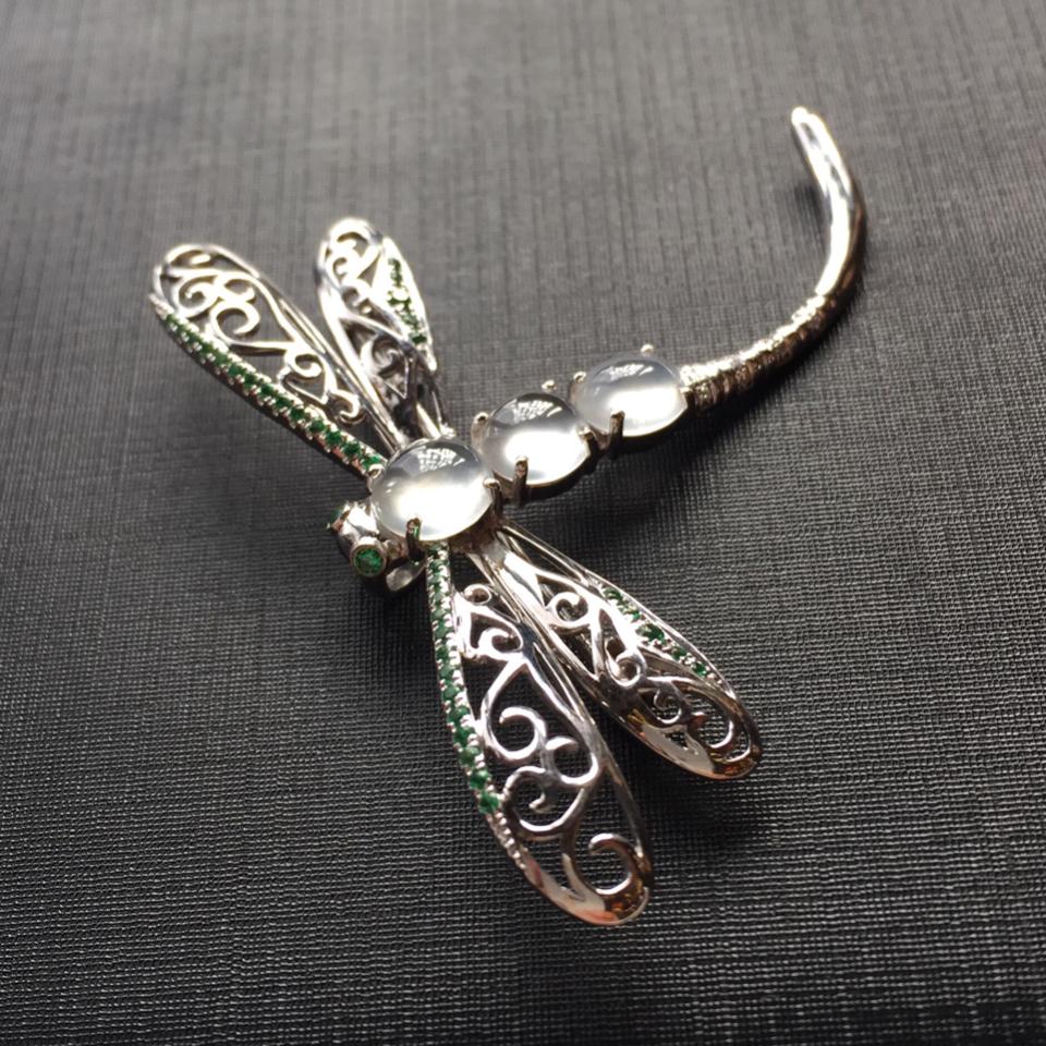 (超值推荐)镶白金钻石白冰翡翠蜻蜓胸针