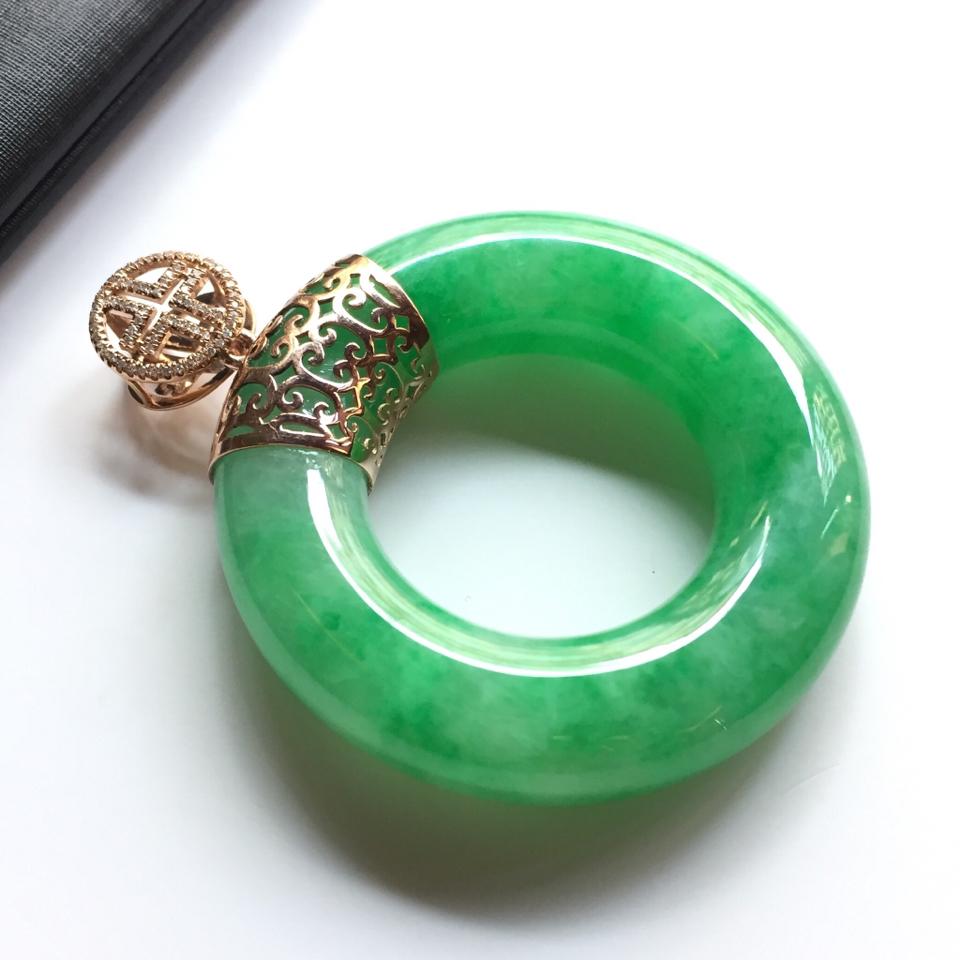(超值推荐)糯冰种翠色镶玫瑰金钻石平安环挂件