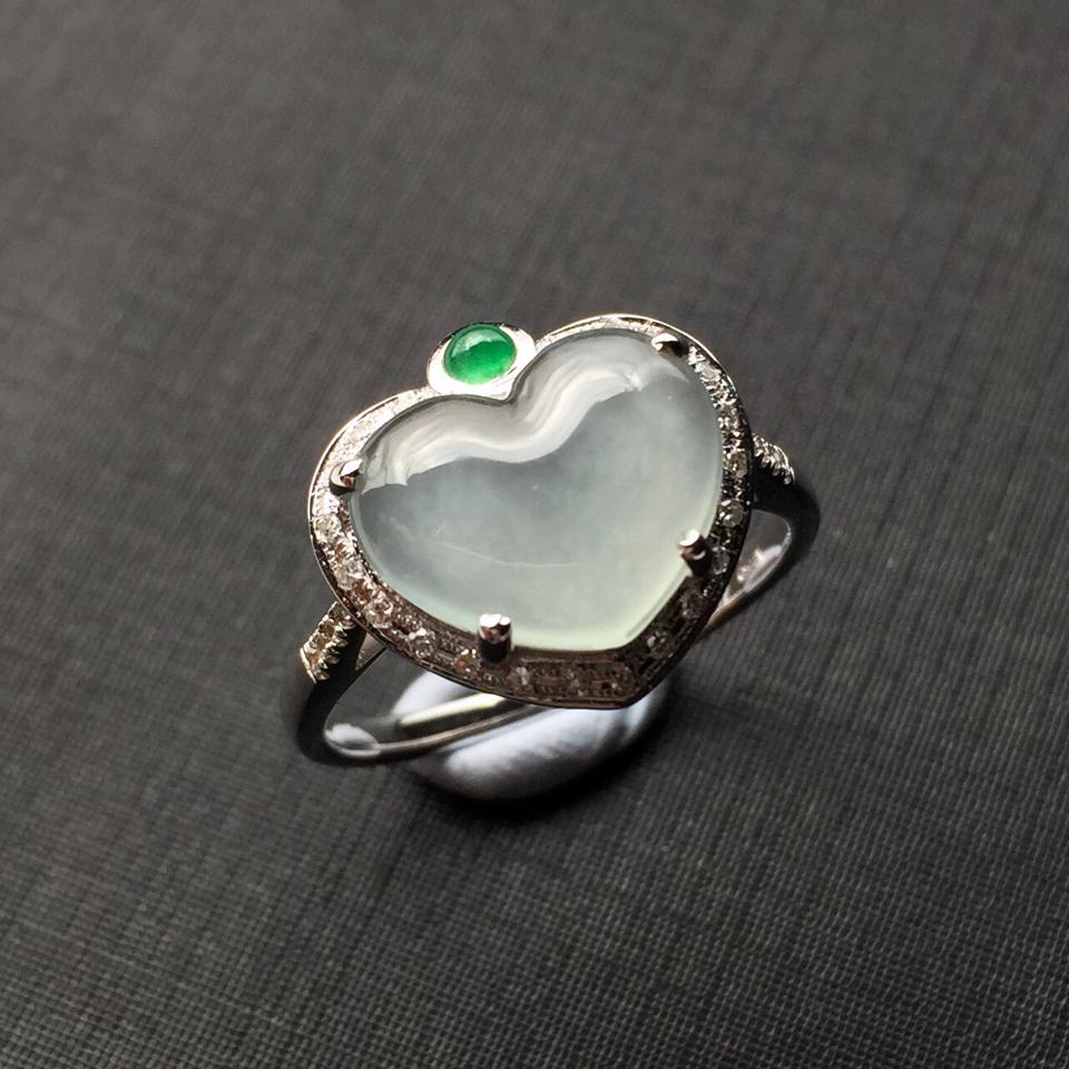 (超值推荐)镶白金钻石白冰翡翠戒指