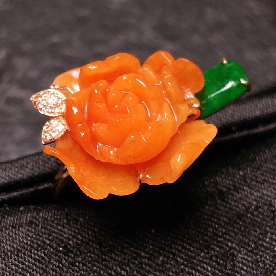 (超值推荐)糯冰种红翡富贵花开镶玫瑰金钻石戒指翡翠
