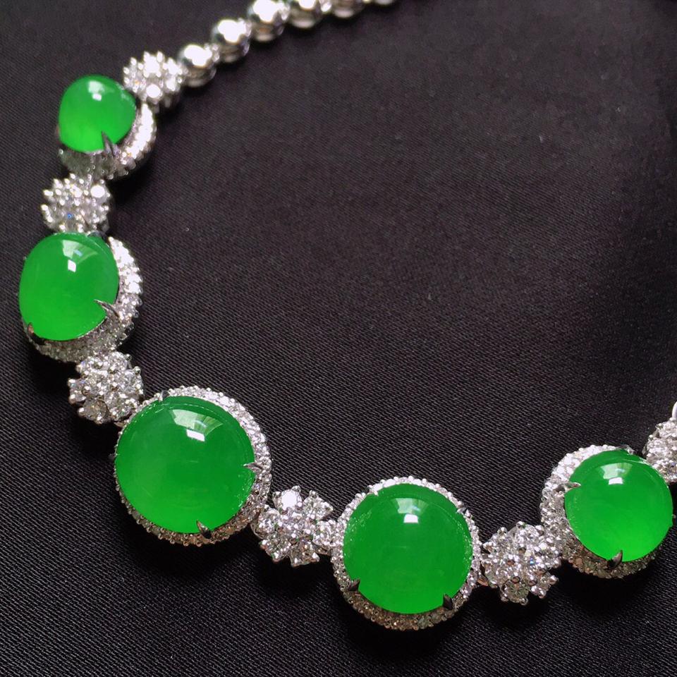 冰种阳绿镶18K白金钻石手链翡翠