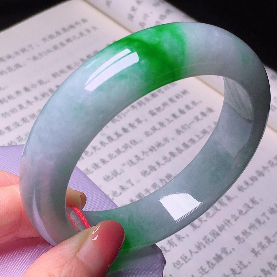 糯冰种飘翠手镯(59.5mm)翡翠