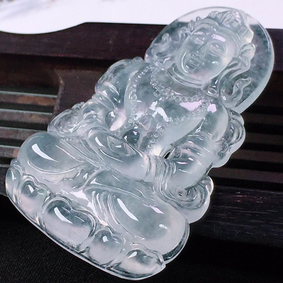 冰种晴水度母挂件翡翠