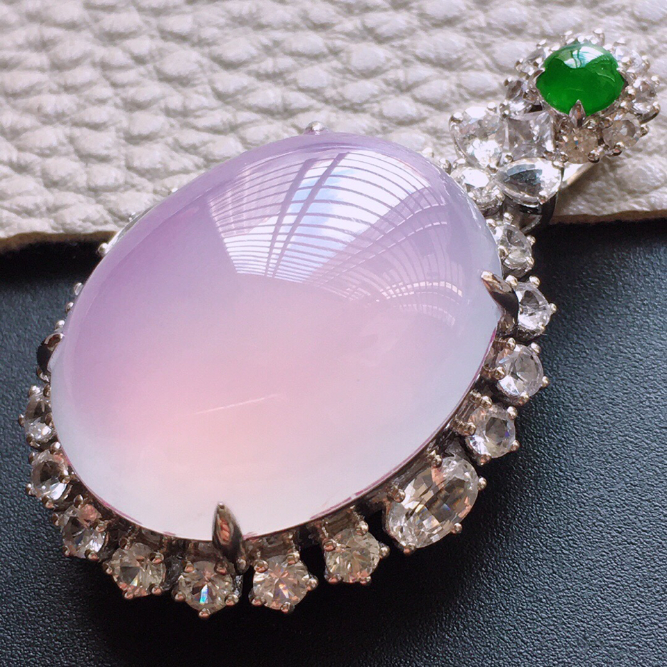 冰种紫罗兰18K白金钻石胸坠翡翠