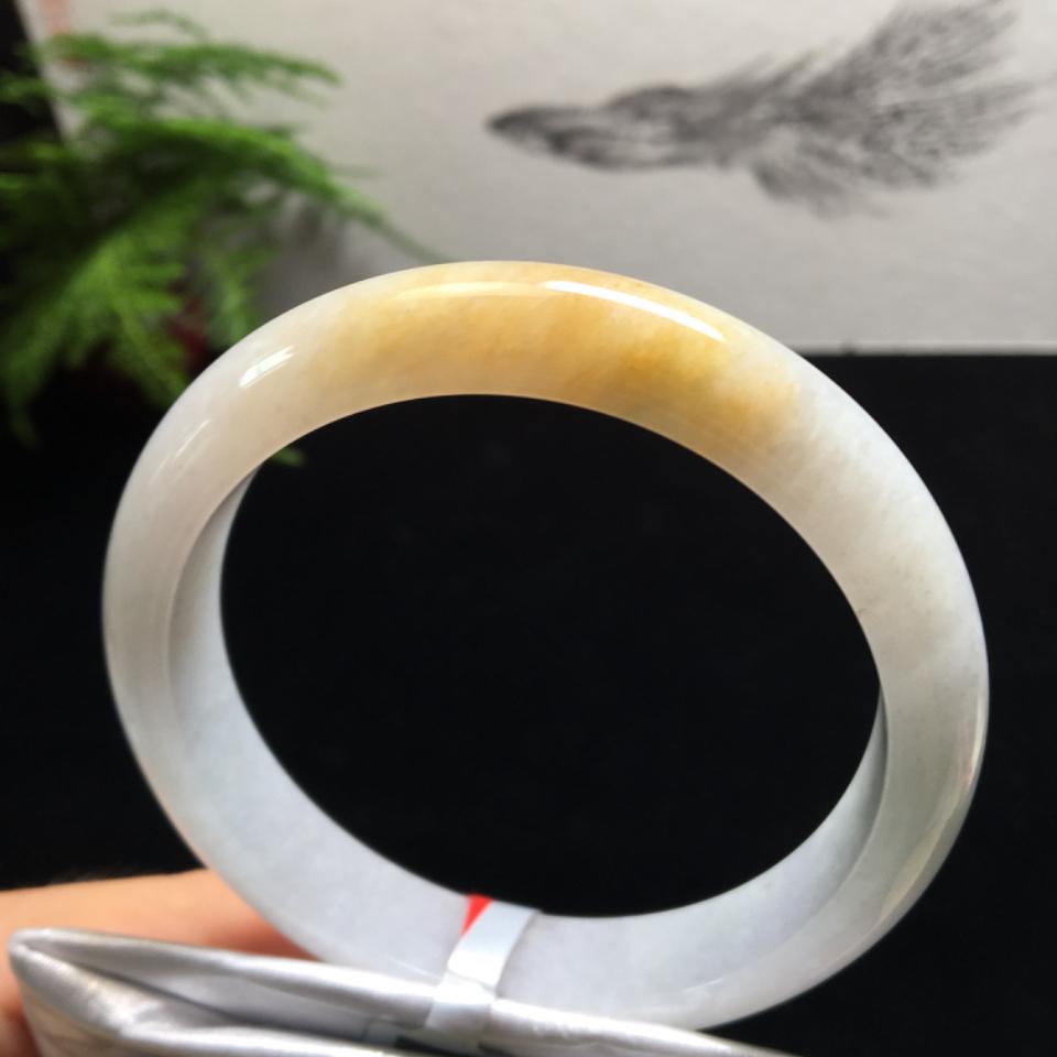 (超值推荐)糯冰种飘黄翡手镯(62.5mm)翡翠