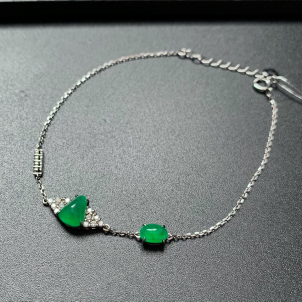 镶18K钻石冰绿翡翠手链