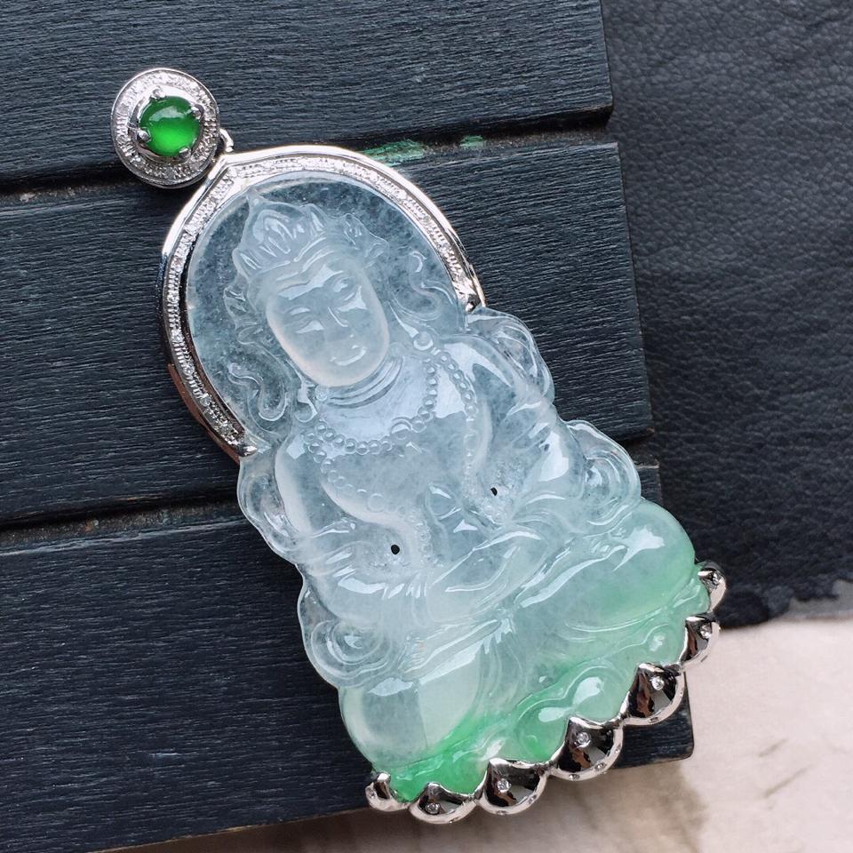翡翠观音,翡翠18K金伴钻镶嵌糯冰种保平安带绿观音吊坠