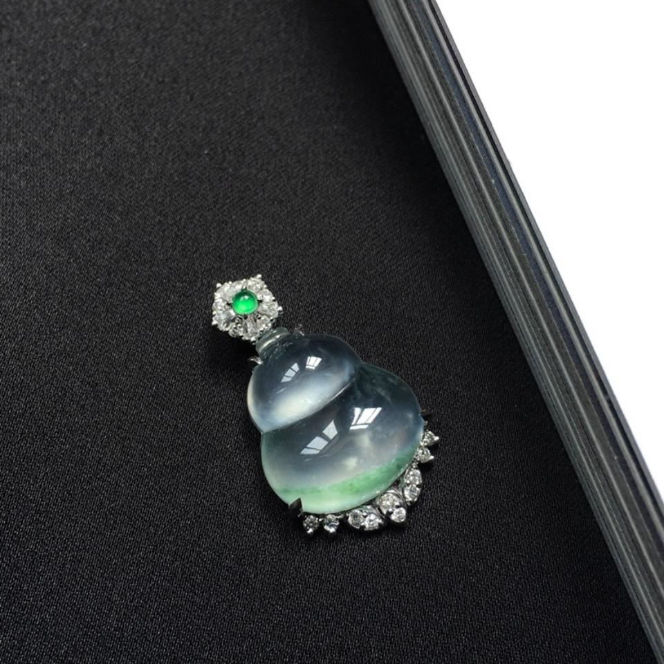 (超值推荐)镶18K金钻石玻璃种飘花葫芦吊坠