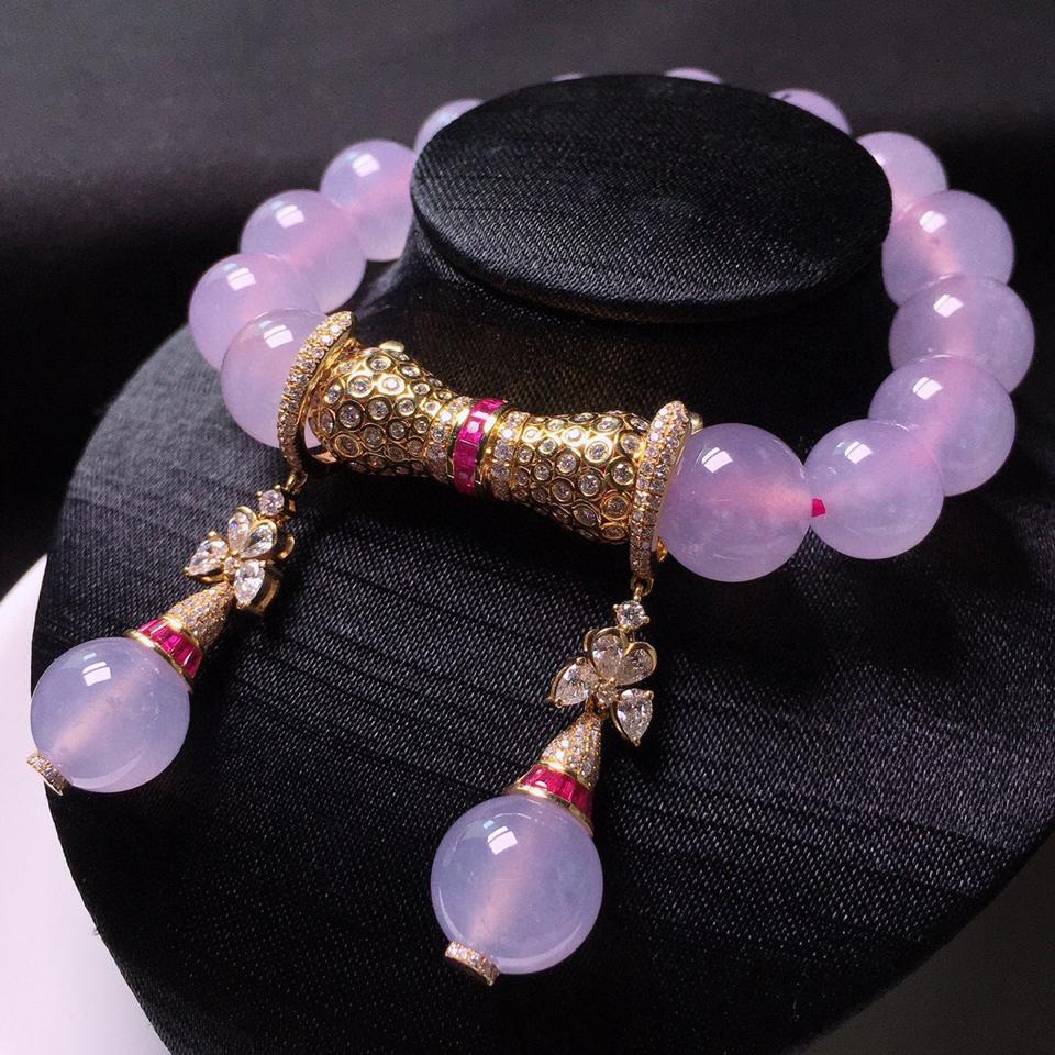 冰玻种粉紫珠子手链加耳坠翡翠一套