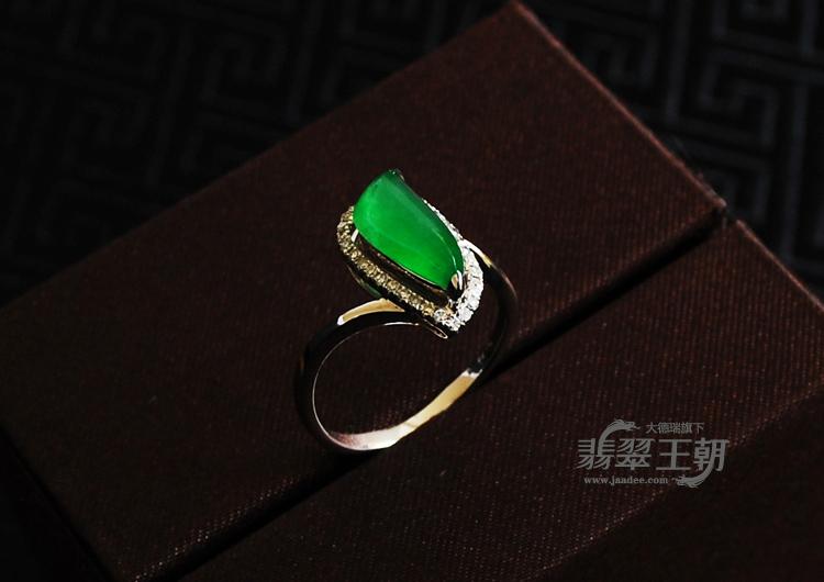 冰种满绿包白金缅甸翡翠戒指