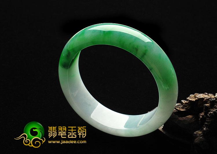 糯冰种阳绿缅甸翡翠A货手镯(57.1mm)