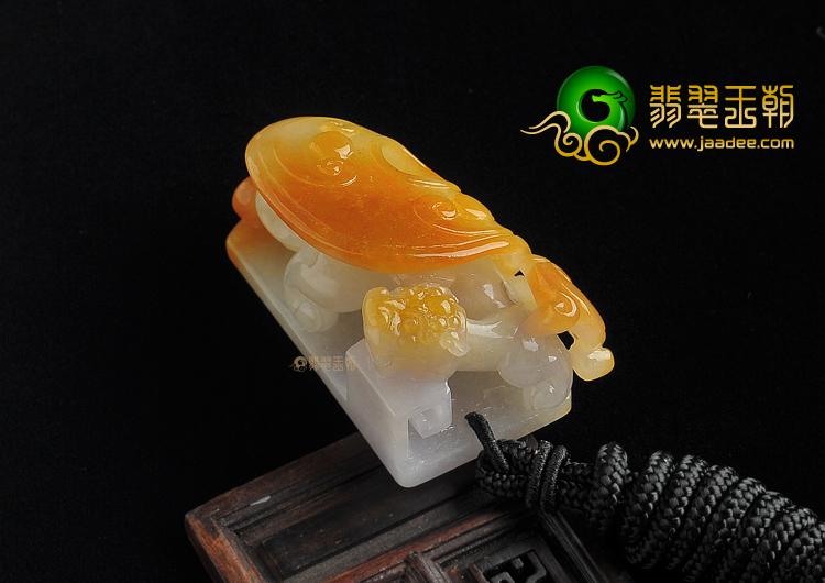 (超值推荐)糯冰种褐黄翡缅甸翡翠A货螭龙如意挂件