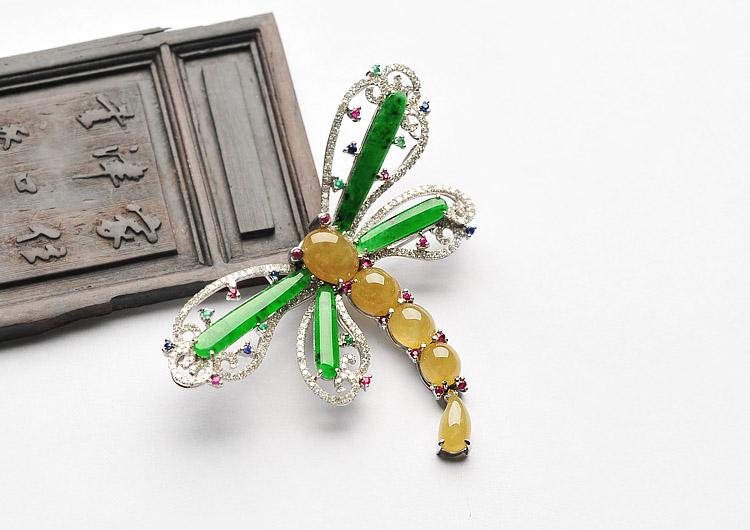 (超值推荐)冰种阳绿/黄翡镶白金钻石蜻蜓胸针/胸坠