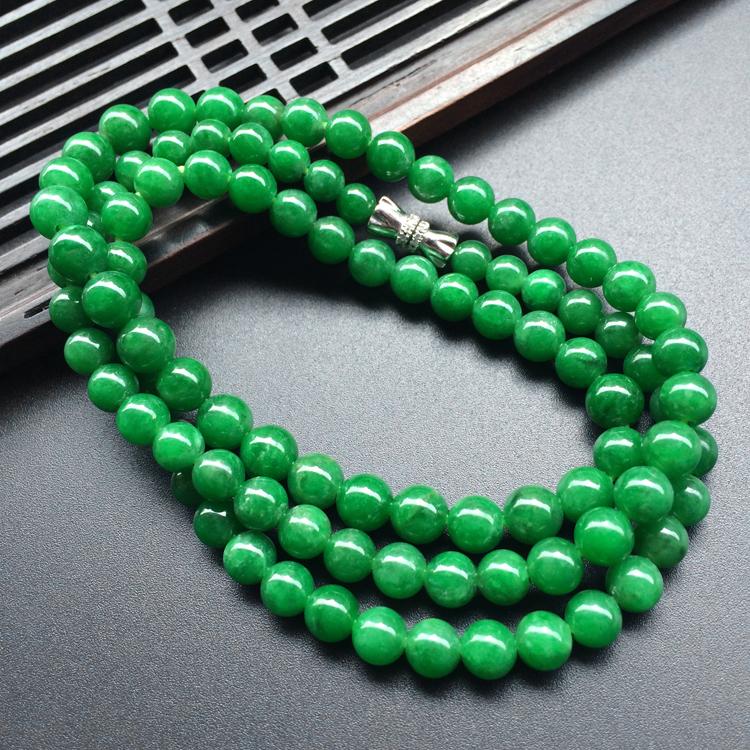 (超值推荐)糯冰种正阳绿珠链