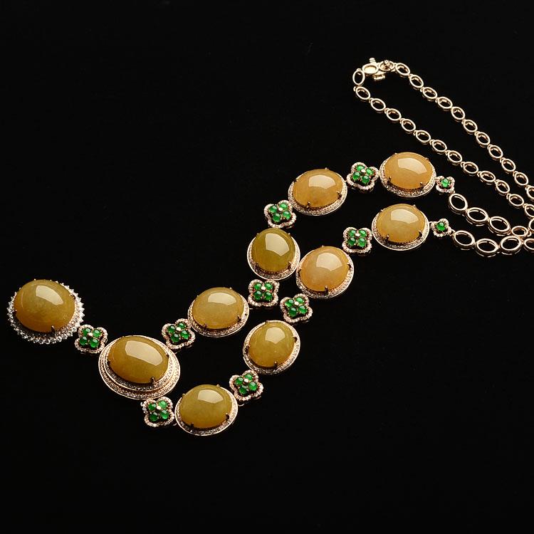 冰种/糯冰种黄翡/阳绿镶玫瑰金钻石项链
