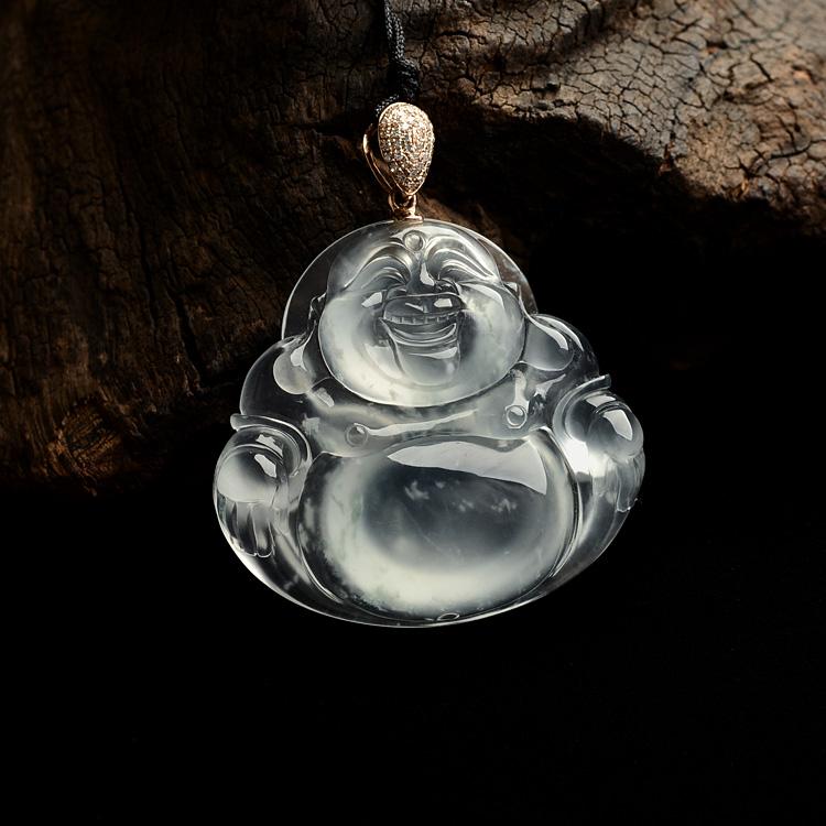 (超值推荐)玻璃种淡晴水镶玫瑰金扣玉佛挂件