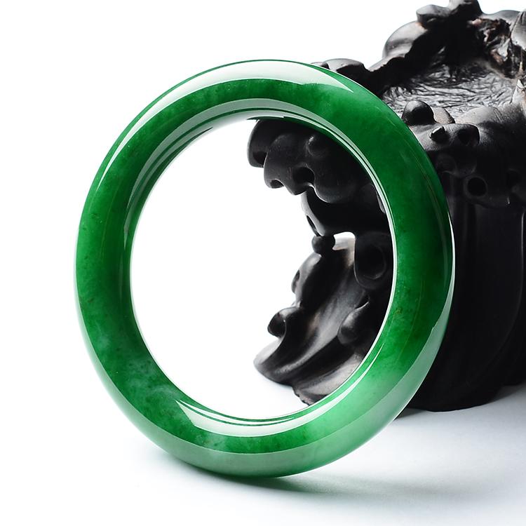 糯冰种阳绿满绿圆条手镯(59.1mm)