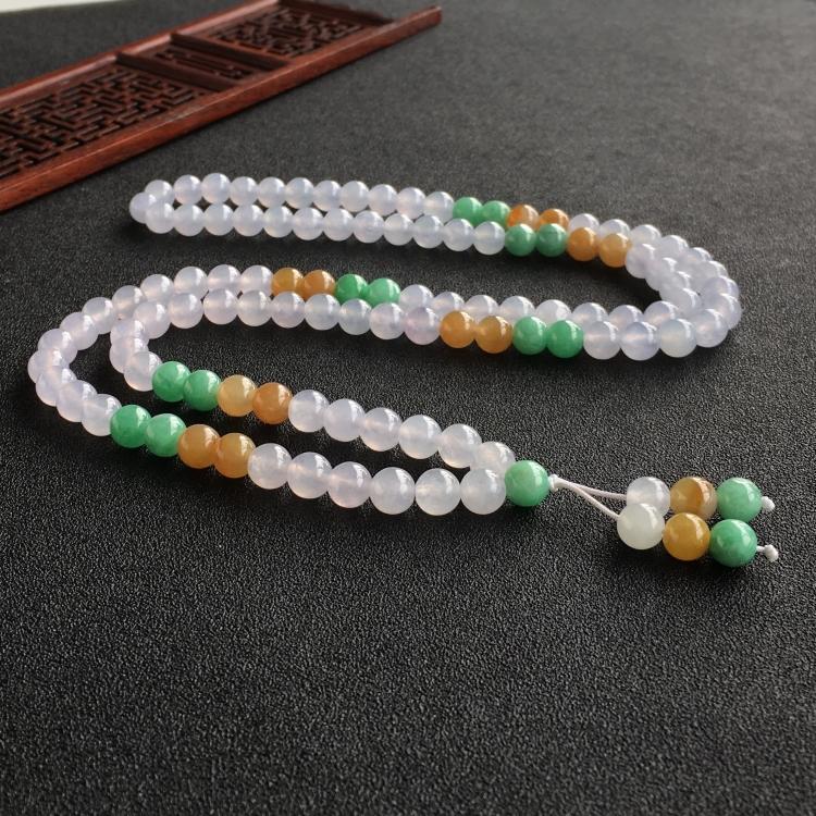 (超值推荐)糯冰种三彩圆珠项链/108佛珠