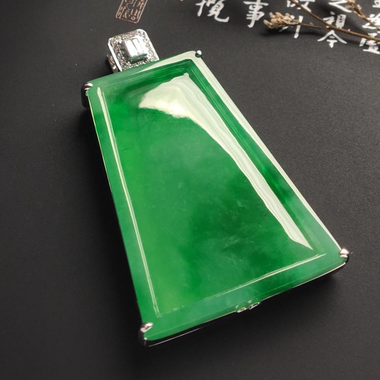 (超值推荐)镶白金钻石冰种阳绿平安无事牌胸坠