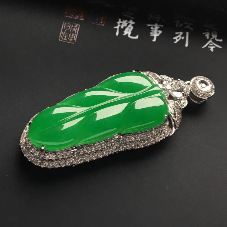 (超值推荐)镶白金钻石冰种阳绿金枝玉叶胸坠