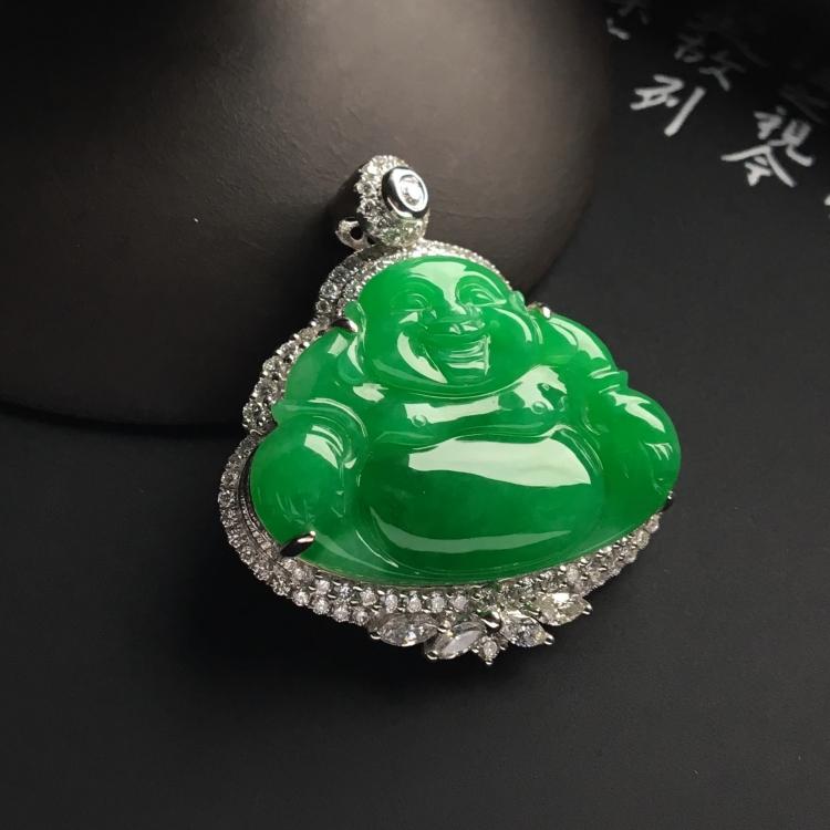 (超值推荐)镶白金钻石冰种阳绿玉佛胸坠