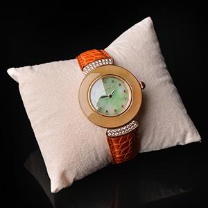 (超值推荐)糯冰种黄加绿瑞士石英机芯翡翠女表