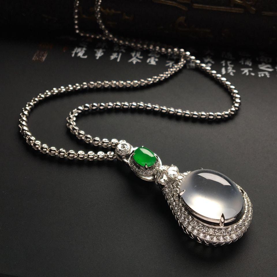 (超值推荐)镶白金钻石冰玻种无色/冰种阳绿项链