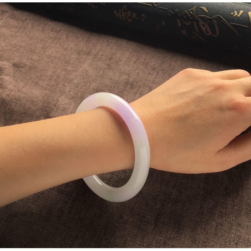(超值推荐)糯冰种紫罗兰圆条手镯一对(57.7mm、57.5mm)