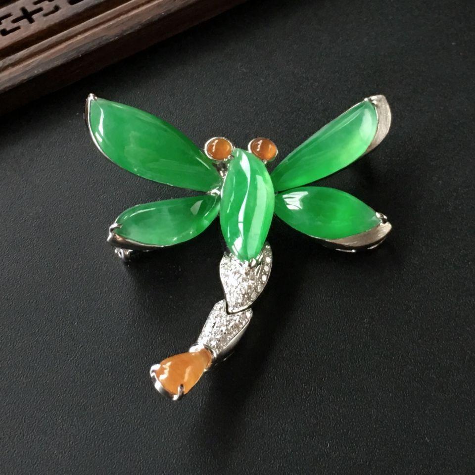 (超值推荐)冰种翠色镶白金钻石蜻蜓胸坠/胸针