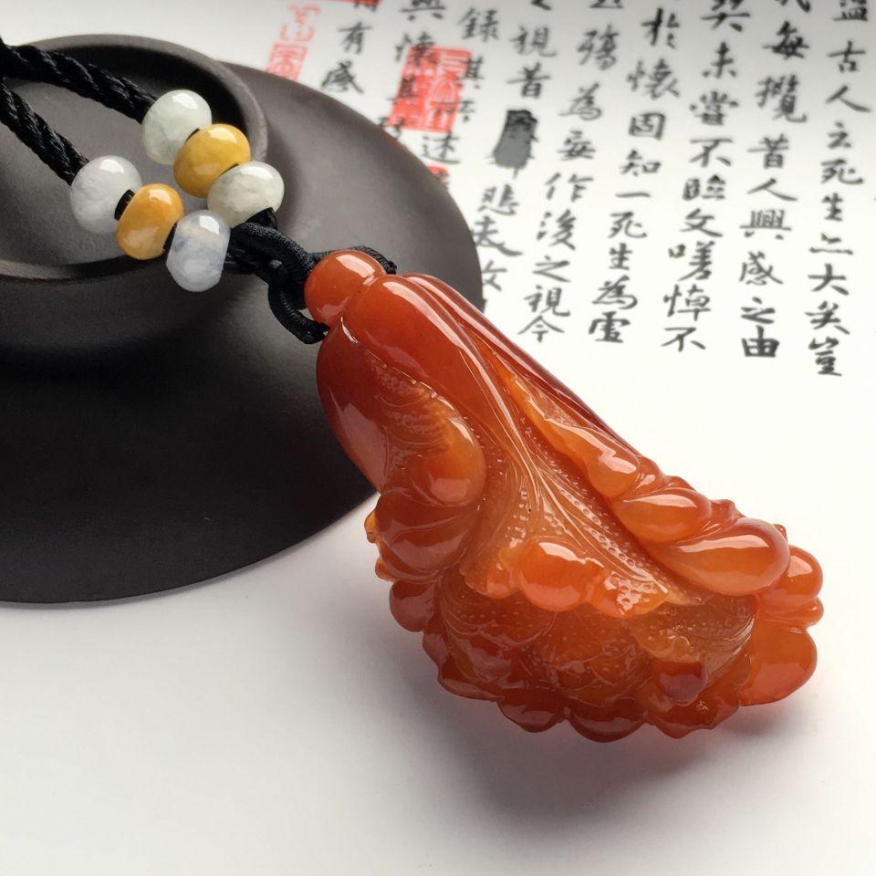 (超值推荐)糯冰种红黄翡白菜挂件