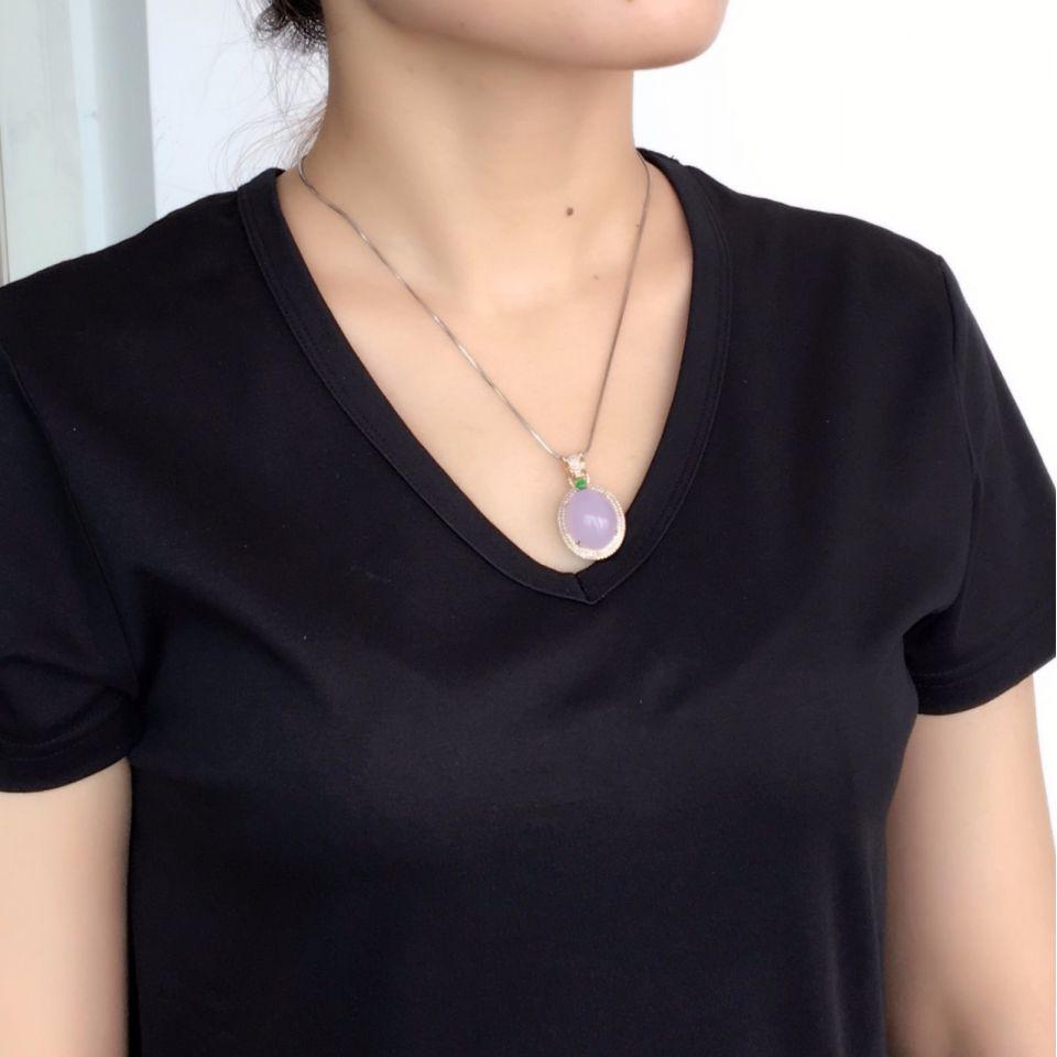 (超值推荐)糯冰种紫罗兰镶玫瑰金钻石胸坠