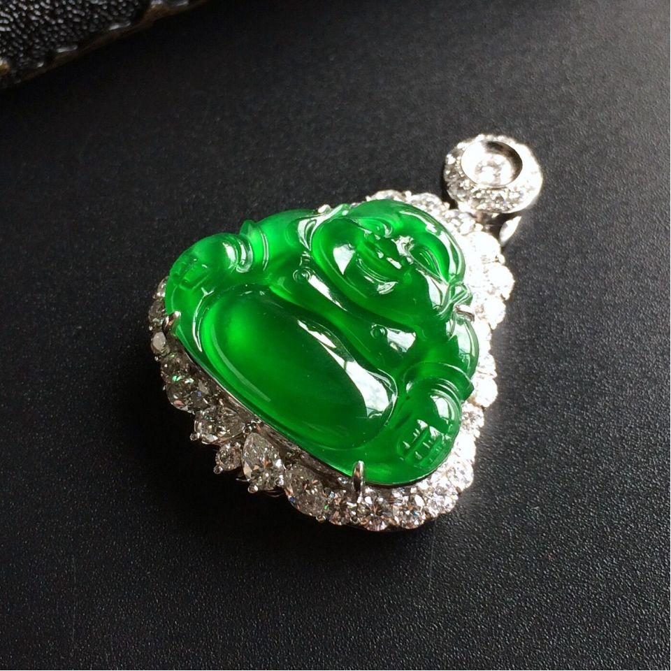(超值推荐)玻璃种帝王绿镶白金钻石佛公胸坠